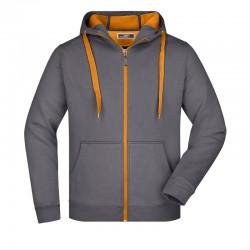 Felpa con zip double face carbon orange