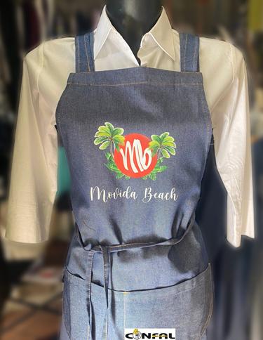 Grembiuli in jeans personalizzati con logo, Movida Beach Bracciano